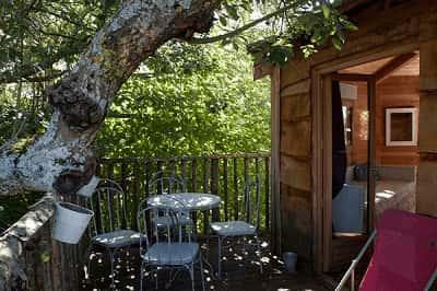 Cabane dans les arbres avec salle de bains
